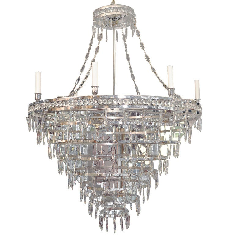 Enormous Nickel and Crystal Modern Tiered Chandelier at