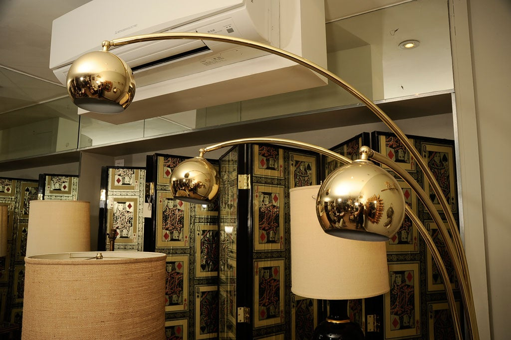 Large Brass Arc Standing Lamp With Marble Base At 1stdibs