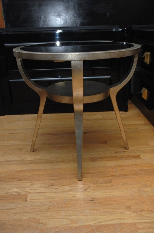 Beautiful Silver Leafed Side Table By James Mont 3