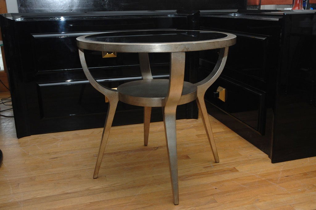 Beautiful Silver Leafed Side Table By James Mont 4