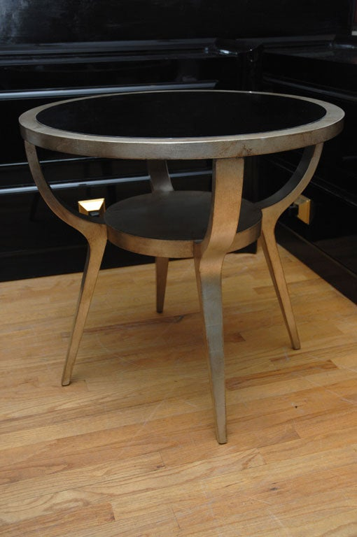 Beautiful Silver Leafed Side Table By James Mont 5