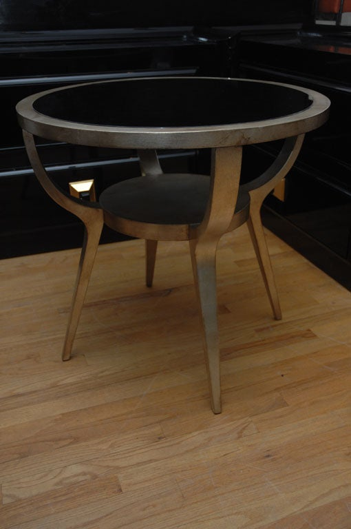 Beautiful Silver Leafed Side Table By James Mont 2