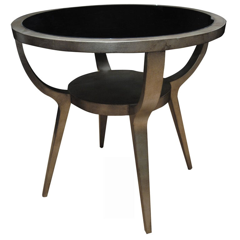 Beautiful silver leafed side table by james mont at 1stdibs for Beautiful end tables