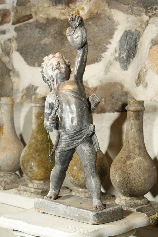 Neoclassical Fine Lead Statue of Cupid 'Eros' For Sale