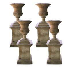 Rare Set of Four 18th Century Yorkstone Urns on Plinths with Provenance