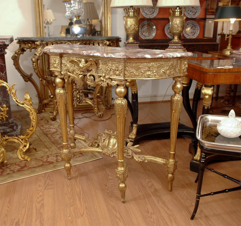 19th Louis XVI Console/with marble top 2
