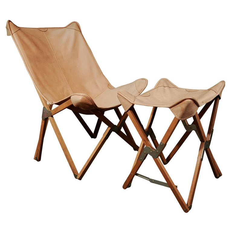 Folding Butterfly Chair and Stool at 1stdibs