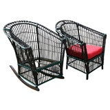 Round Stick Wicker Chair and Rocking Chair