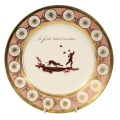 One of Five Pink Dagoty Plates with Romantic Scenes and Witty Sayings
