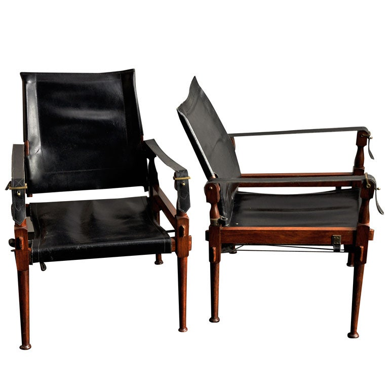 Pair of hans wegner lounge chairs at 1stdibs - Classic Black Leather Safari Chairs At 1stdibs