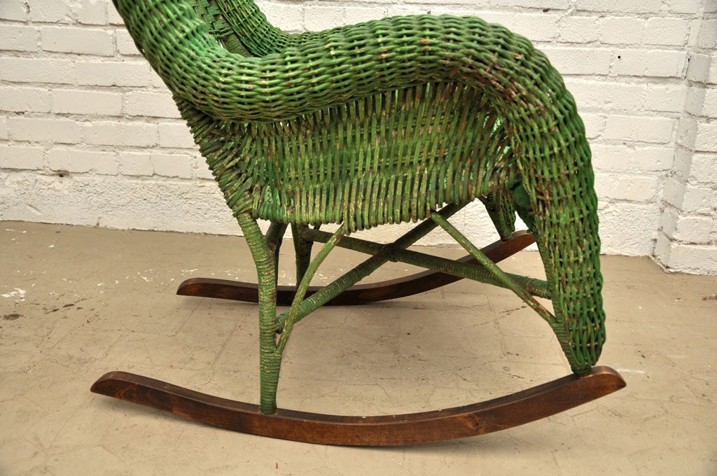 Vintage wicker rocking chair at 1stdibs