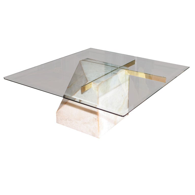 A Marble Brass And Glass Coffee Table At 1stdibs