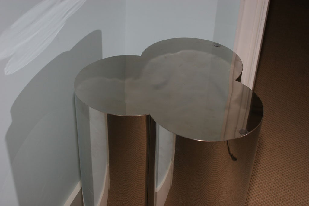 Pair of Trefoil Shaped Brushed Chrome Dining Table Bases 1