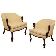 Pair of Upholstered Carved Rope Bergeres