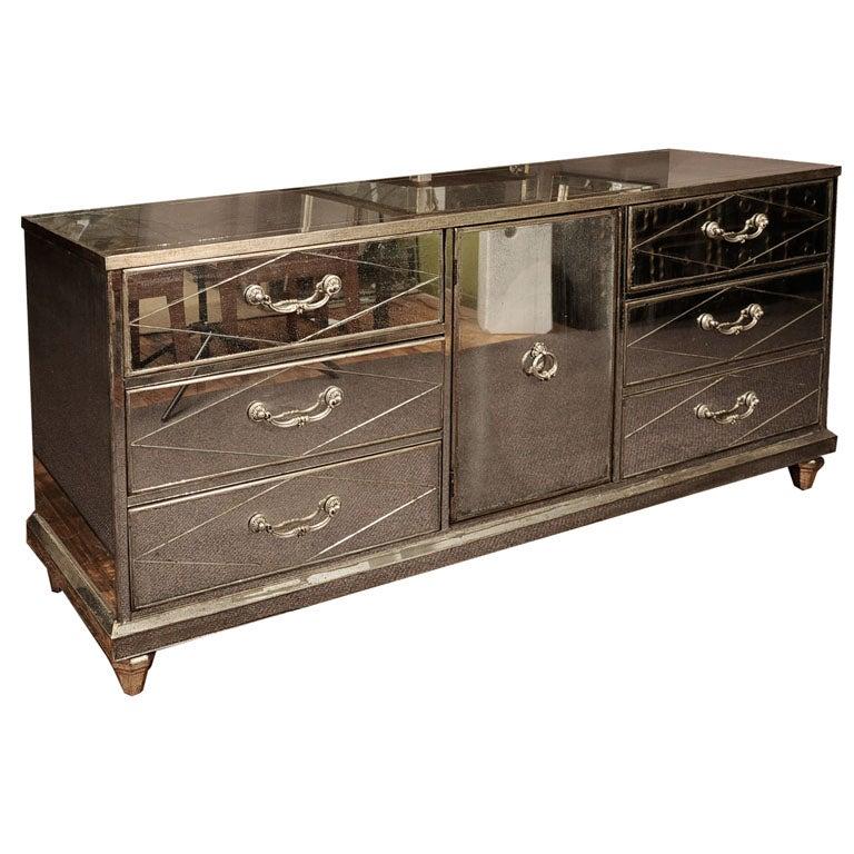 mid century mirrored dresser by bassett furniture