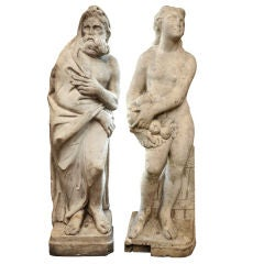 Pair 19th Century of Marble Statues