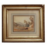 FRENCH 19TH CENTURY PASTORAL WATERCOLOR