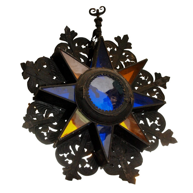 17th Century Iron And Glass Star Ligh For Sale At 1stdibs
