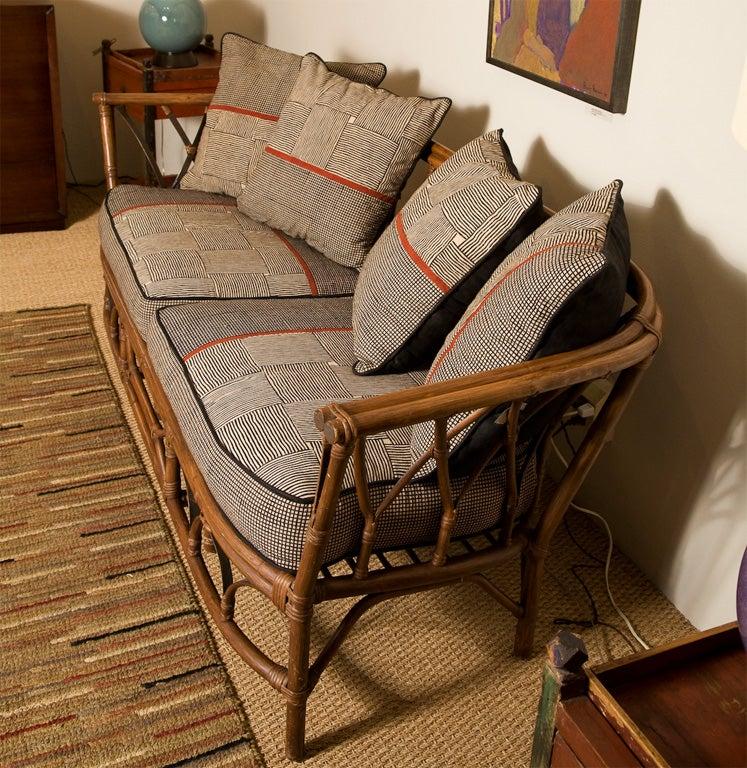 Vintage Mcguire Rattan Love Seat At 1stdibs