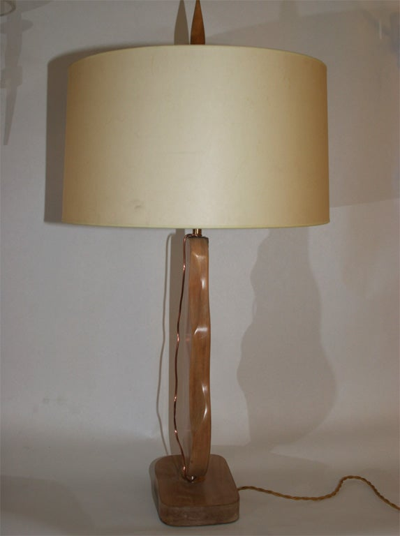 Pair of Modernist Sculptural Table Lamps Signed Heifetz 2