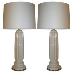 Pair of Architectural Porcelain Table Lamps
