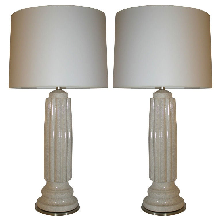Pair of Architectural Porcelain Table Lamps 1