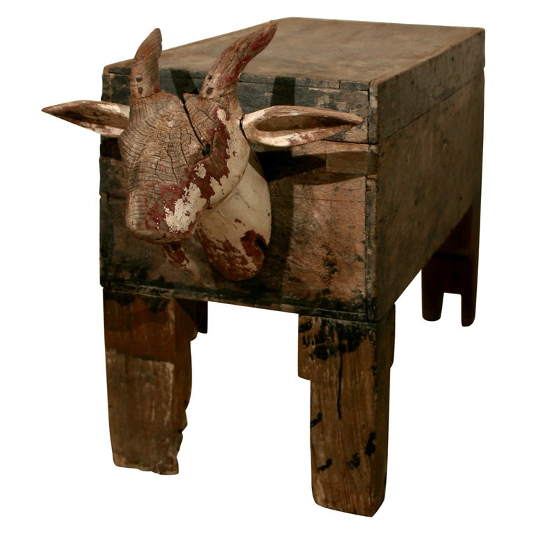 Kaplan Global Trunk Coffee Table Reclaimed Whitewash Large: Wooden Trunk With Goat Head At 1stdibs
