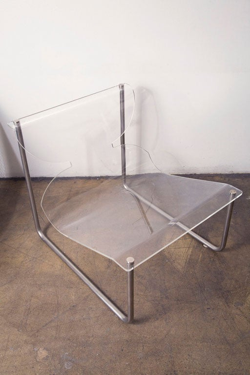 Modern Pair of chrome and lucite sling chairs by Charles Hollis Jones