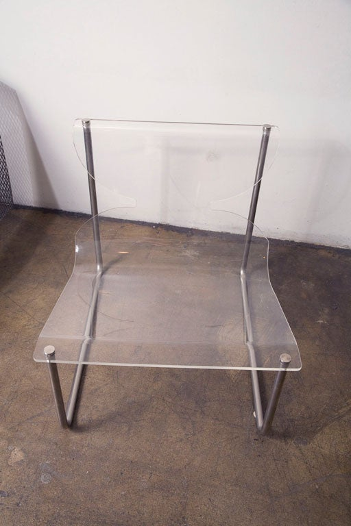Pair of chrome and lucite sling chairs by Charles Hollis Jones In Excellent Condition In Los Angeles, CA