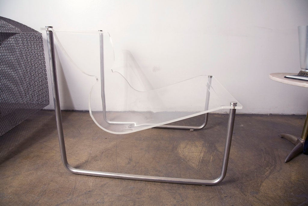 Mid-20th Century Pair of chrome and lucite sling chairs by Charles Hollis Jones