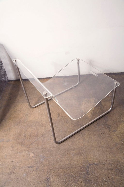 Lucite Pair of chrome and lucite sling chairs by Charles Hollis Jones