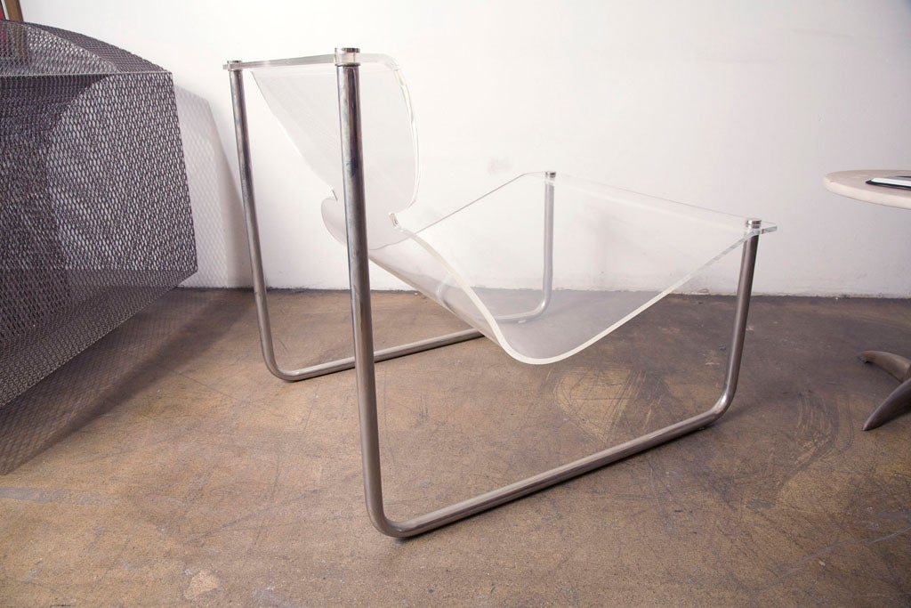 Pair of chrome and lucite sling chairs by Charles Hollis Jones 1