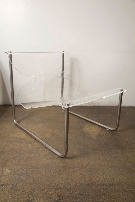 Pair of chrome and lucite sling chairs by Charles Hollis Jones 3