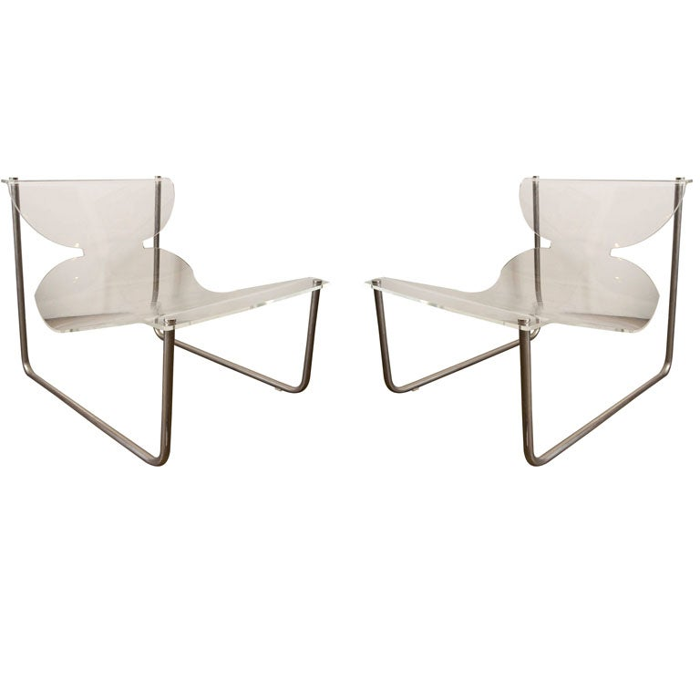Pair of chrome and lucite sling chairs by Charles Hollis Jones
