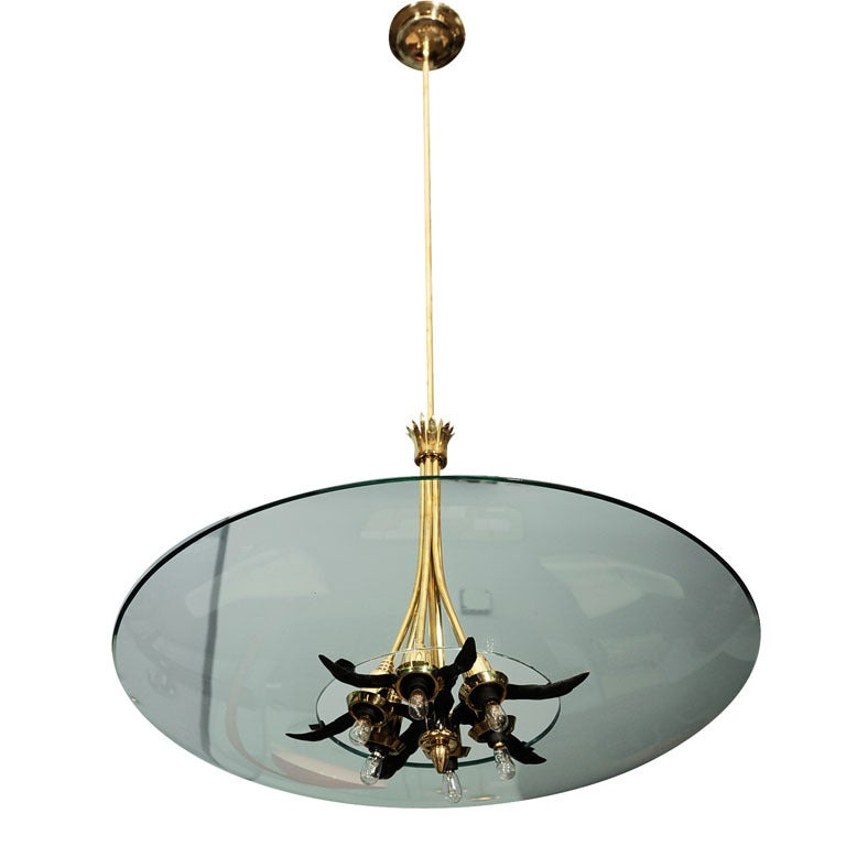 Crystal and Brass Hanging Fixture by Lumi