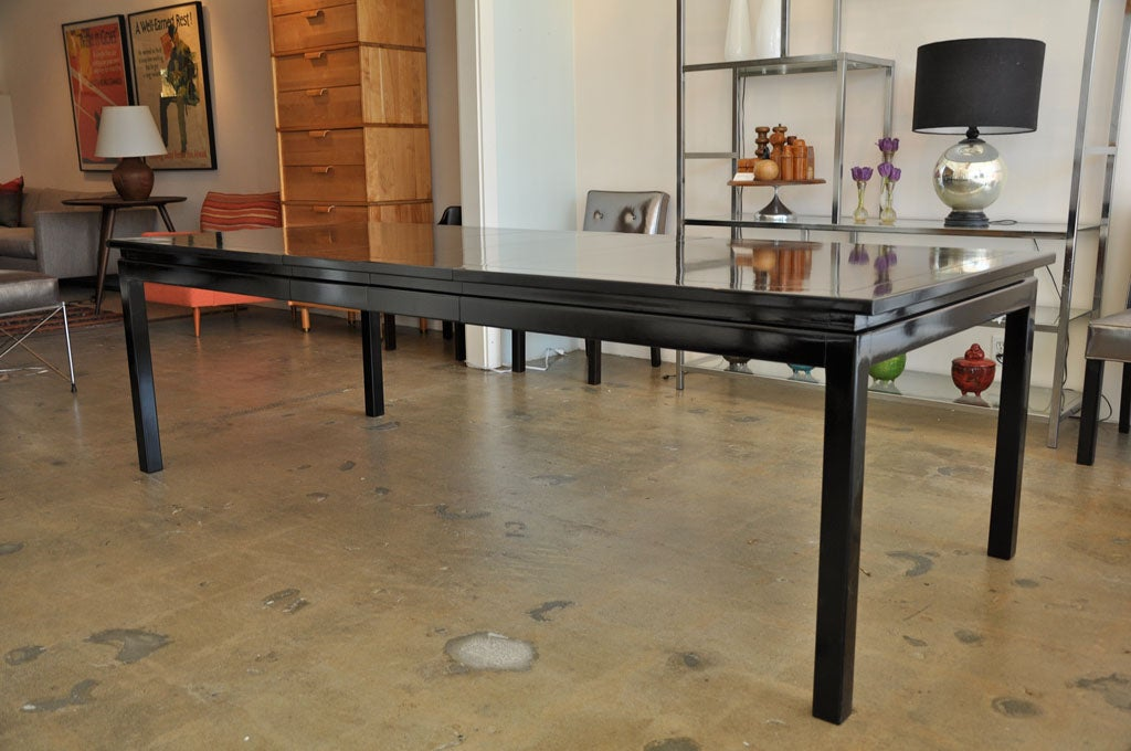 Black lacquer dining table with three leaves at 1stdibs for 3 leaf dining room tables