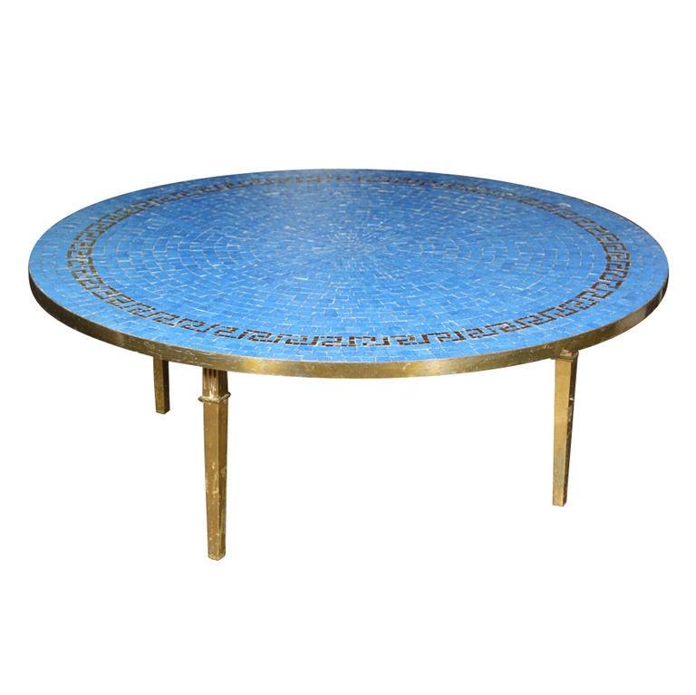 Round Greek Key Mosaic Tile Table At 1stdibs