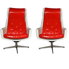 Pair of  Red and White Midcentury Chairs