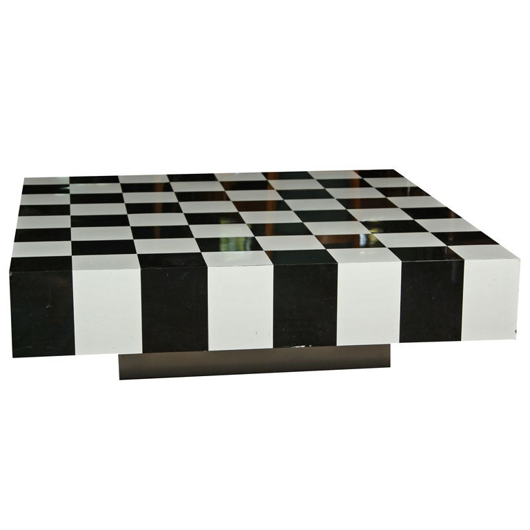 Merveilleux Black And White Checkerboard Coffee Table For Sale