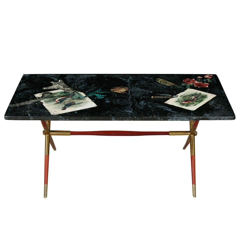 Fornasetti Coffee Table With Laquer And Brass Base By Gio Ponti At 1stdibs