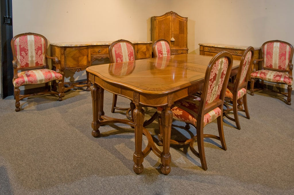 Carved walnut 10 piece marble top dining set at 1stdibs for 10 piece dining room table sets