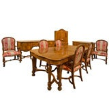 Carved Walnut 10 Piece Marble Top Dining Set