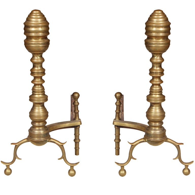 Beehive Style Brass Antique Andirons At 1stdibs