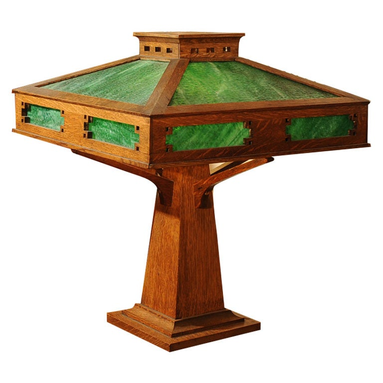 Mission Oak Arts And Crafts Table Lamp At 1stdibs