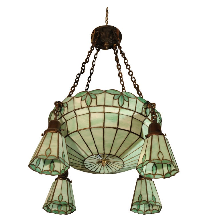 Arts and Crafts Leaded Glass Chandelier with Four Side
