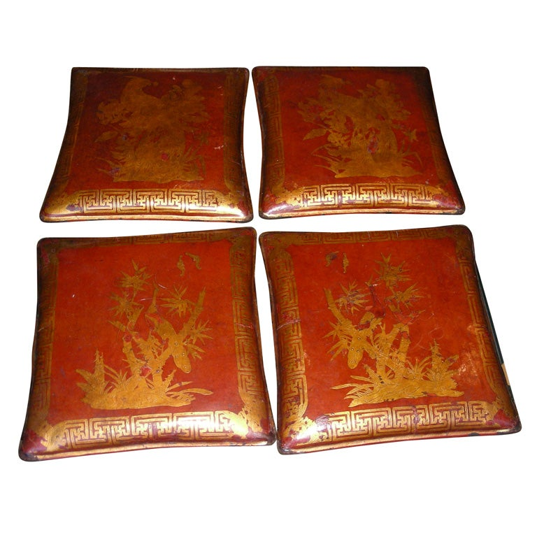 Four End Of 19th Century Chinese Leather Pillows At 1stdibs