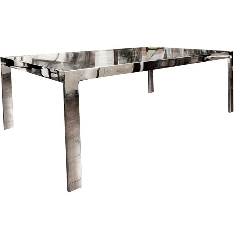 Milo Baughman Chrome Dining Table Desk At 1stdibs