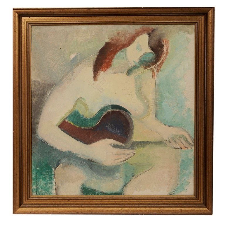 Cubist Guitar Player Painting At 1stdibs