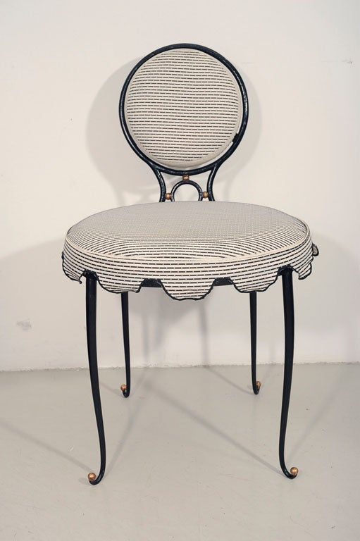 Rene Drouet Set of Six Wrought Iron Upholstered Chairs image 2