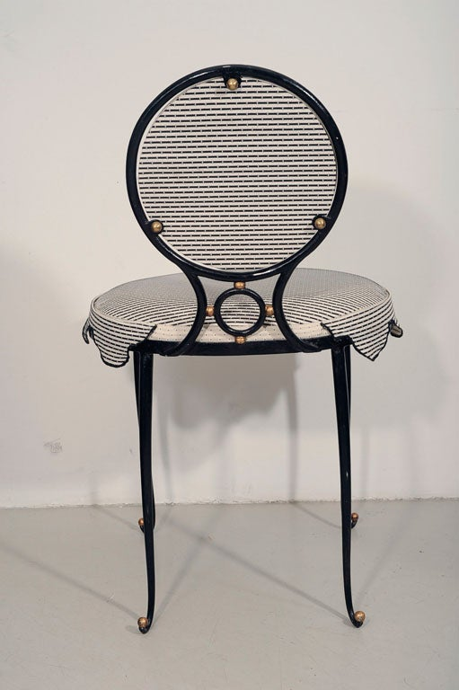 Rene Drouet Set of Six Wrought Iron Upholstered Chairs image 7